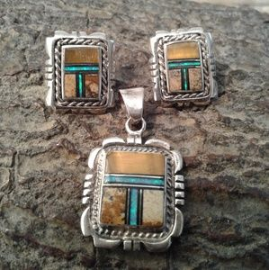 Jewelry - Sterling silver inlay pendant with earrings Set